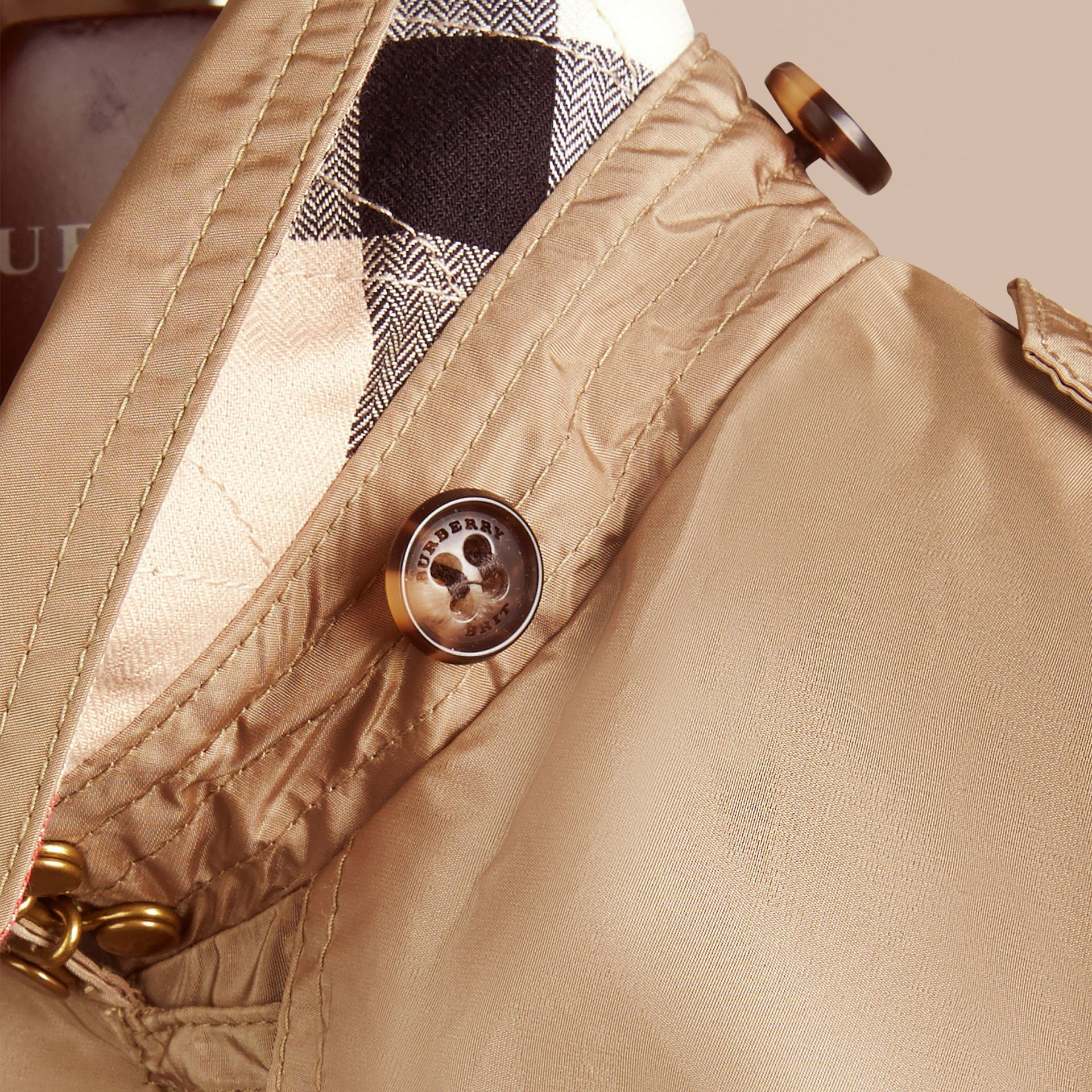 Technical Detachable Hood Trench Coat in Sisal - Girl | Burberry - gallery image 2