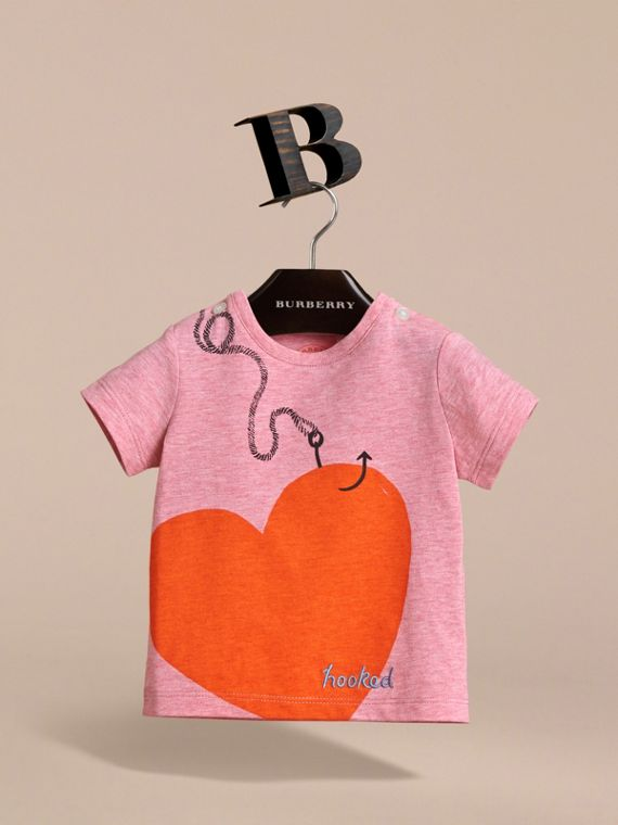 Hooked Heart Motif Cotton T-shirt in Light Copper Pink Melange | Burberry - cell image 2