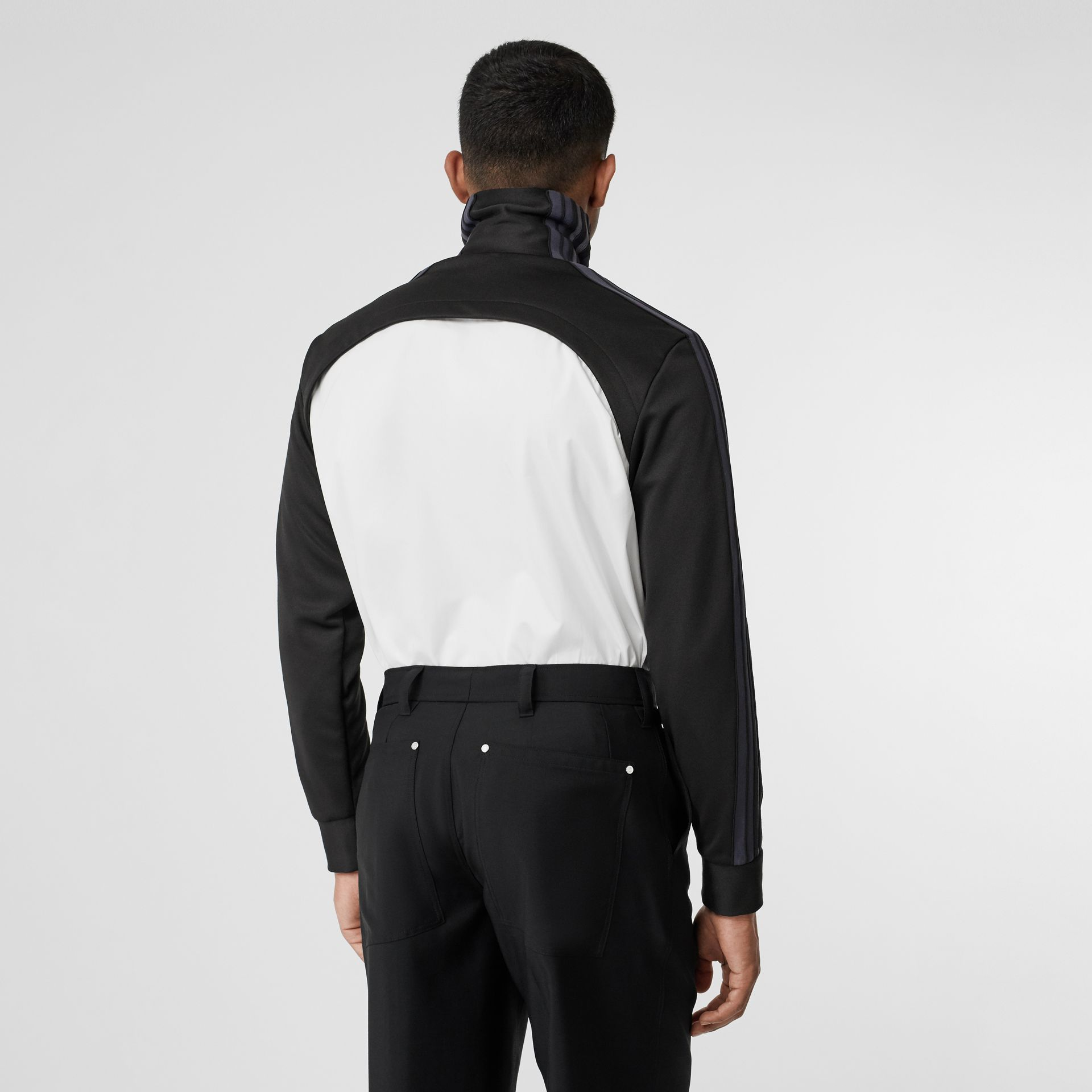 Track Top Panel Cotton Poplin Shirt in Black - Men | Burberry - gallery image 2