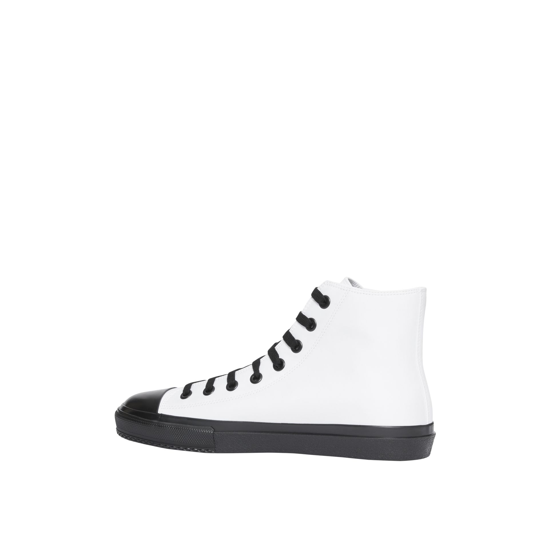 Logo Print Cotton Gabardine High-top Sneakers in Optic White/black - Men | Burberry - gallery image 5