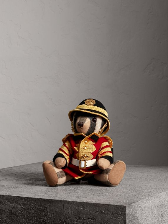 Regimental Thomas Bear in Check Cashmere in Camel