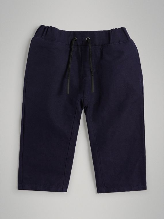 Cotton Linen Drawcord Trousers in Navy