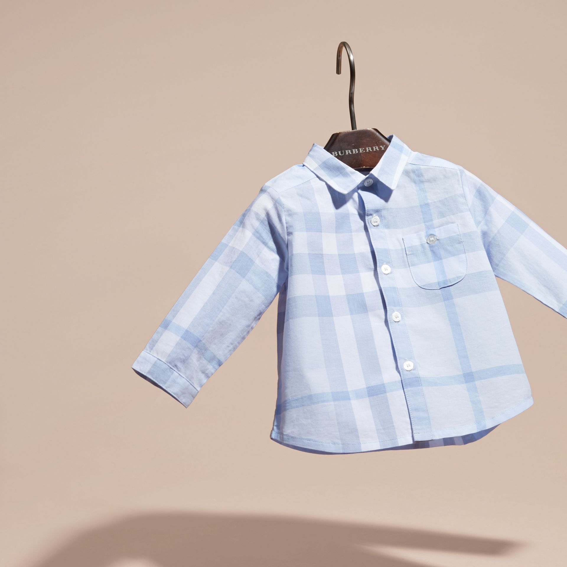 Washed Check Cotton Shirt Ice Blue - gallery image 3