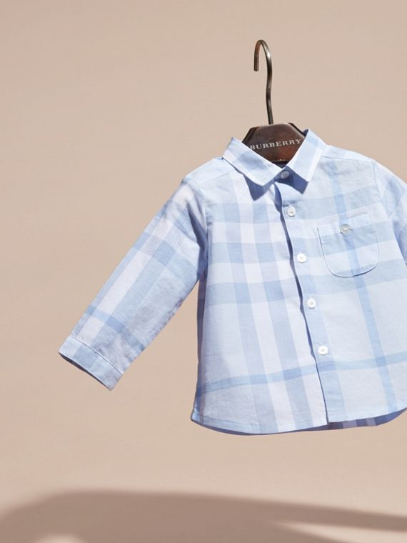 Washed Check Cotton Shirt in Ice Blue - Children | Burberry - cell image 2