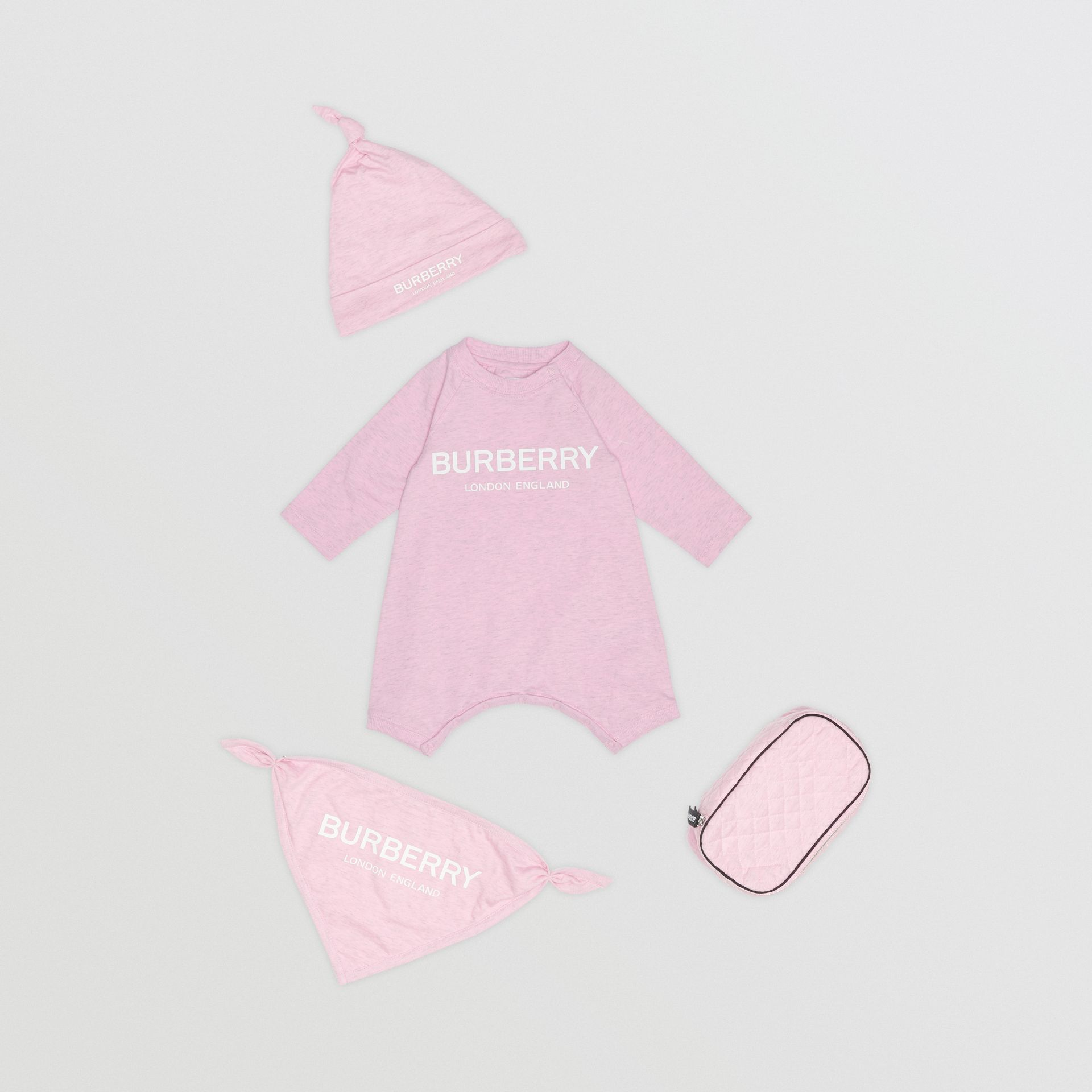 Logo Print Cotton Three-piece Baby Gift Set in Pale Pink - Children | Burberry - gallery image 0