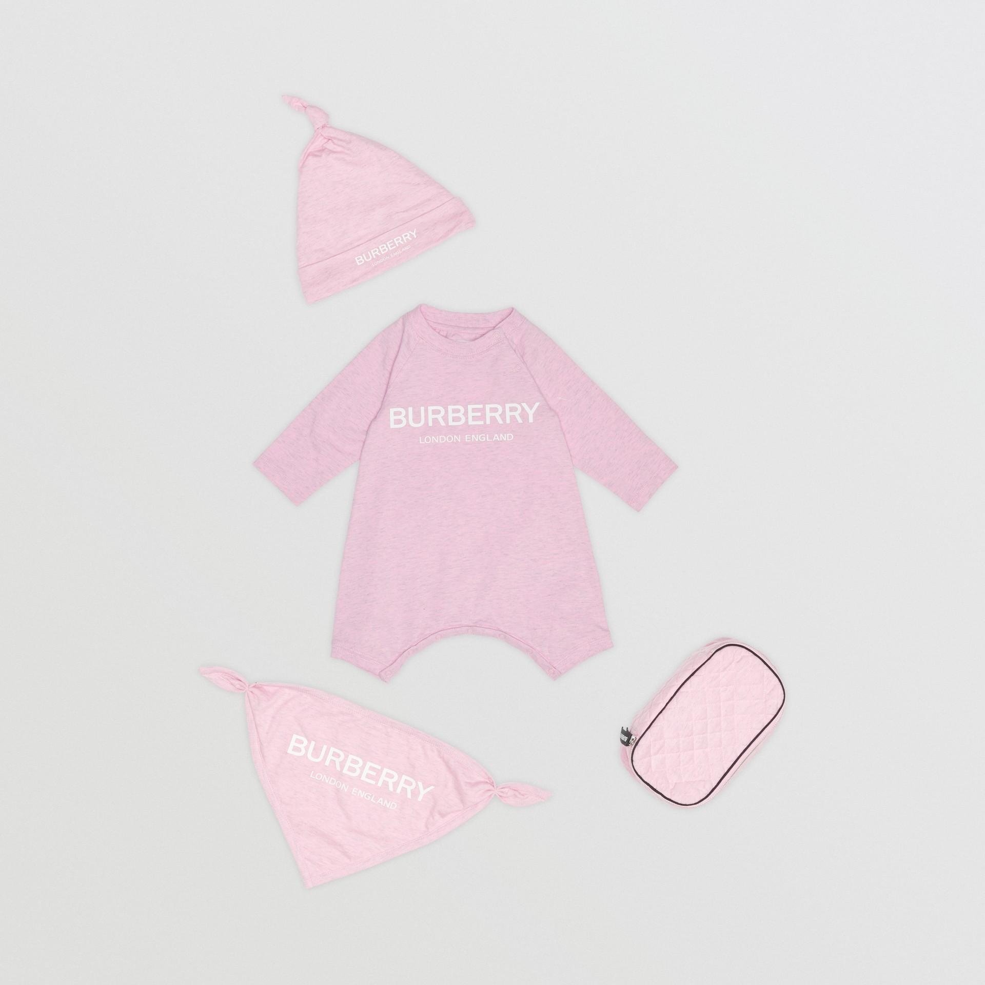 Dreiteiliges Baby-Geschenkset aus Baumwolle mit Burberry-Logo (Hellrosa) - Kinder | Burberry - Galerie-Bild 0
