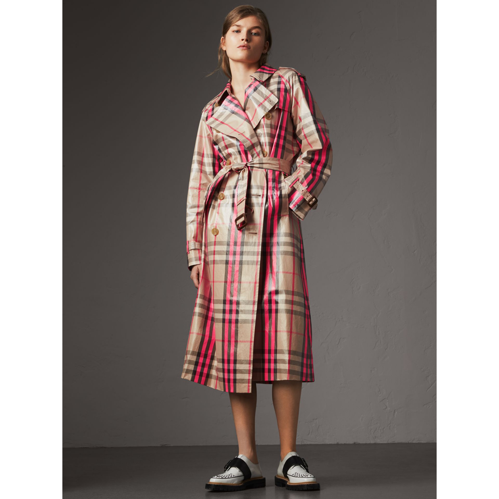 Laminated Check Trench Coat in Neon Pink - Women | Burberry United Kingdom - gallery image 5