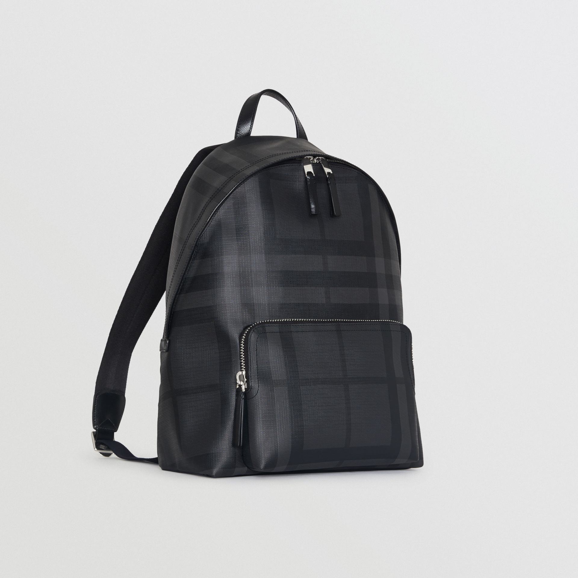 Leather Trim London Check Backpack in Charcoal/black - Men | Burberry Hong Kong - gallery image 4