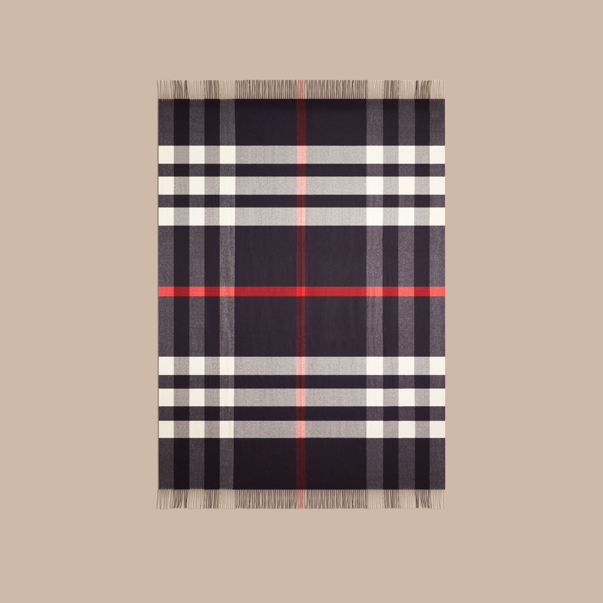 Navy Check Cashmere Blanket Navy - gallery image 3