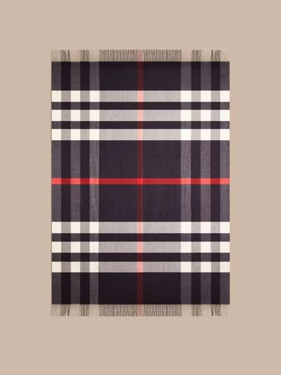 Navy Check Cashmere Blanket Navy - cell image 2
