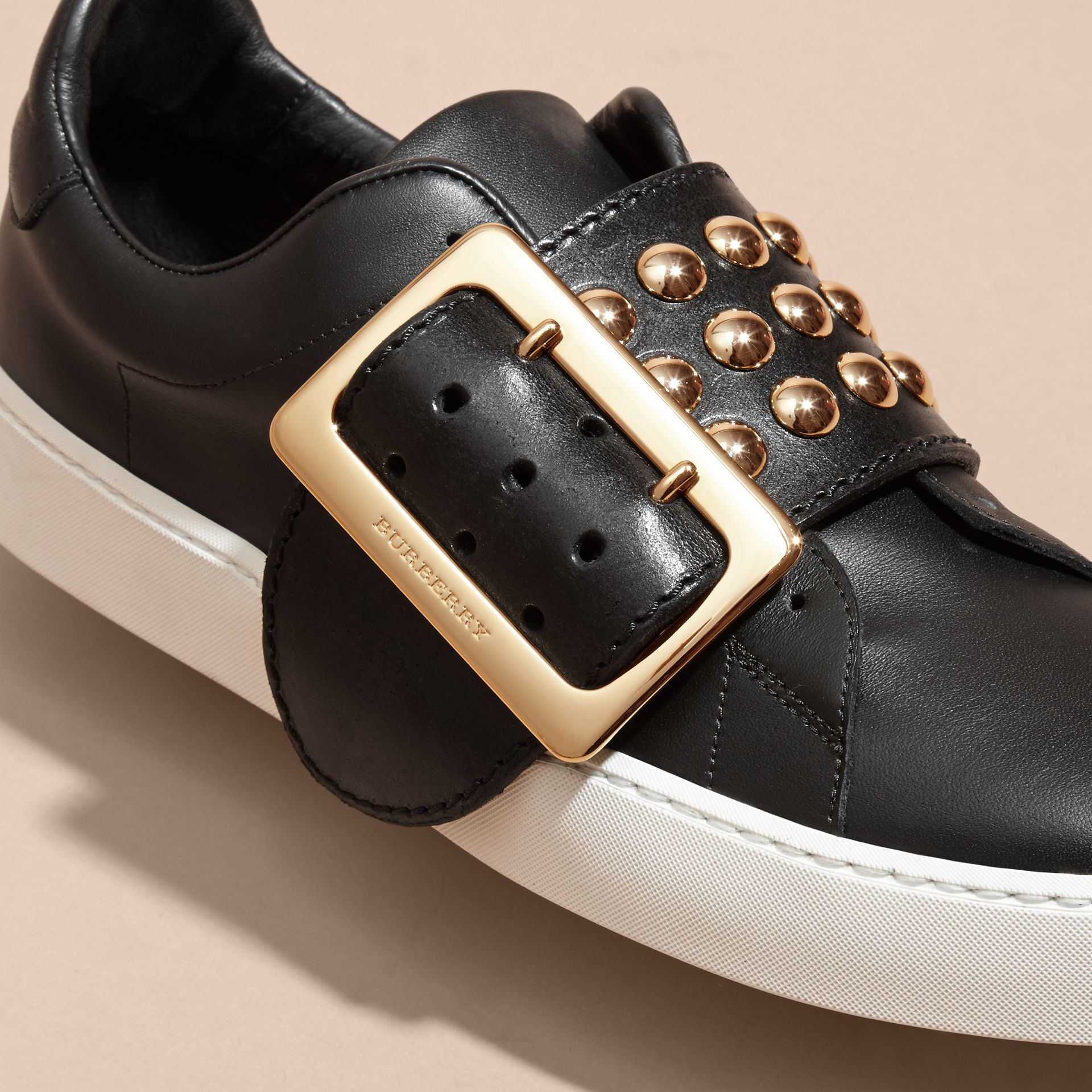 Black Oversize Buckle and Stud Detail Leather Trainers - gallery image 2