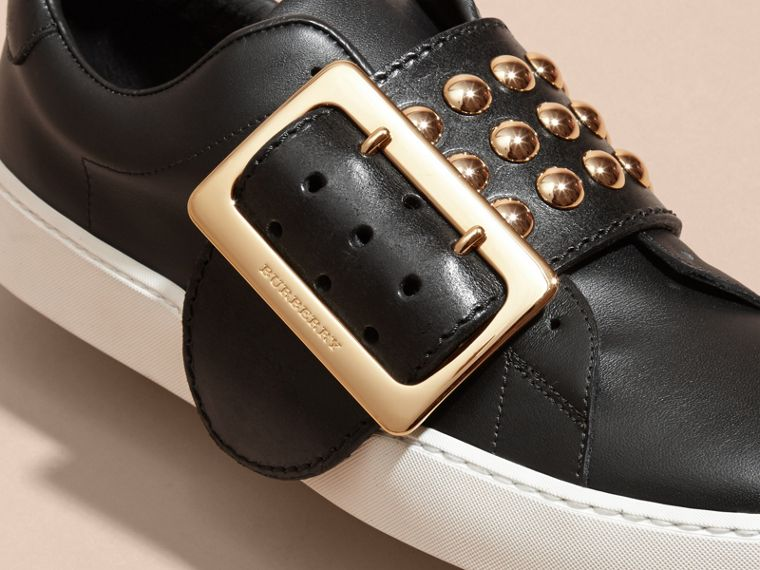 Black Oversize Buckle and Stud Detail Leather Trainers - cell image 1
