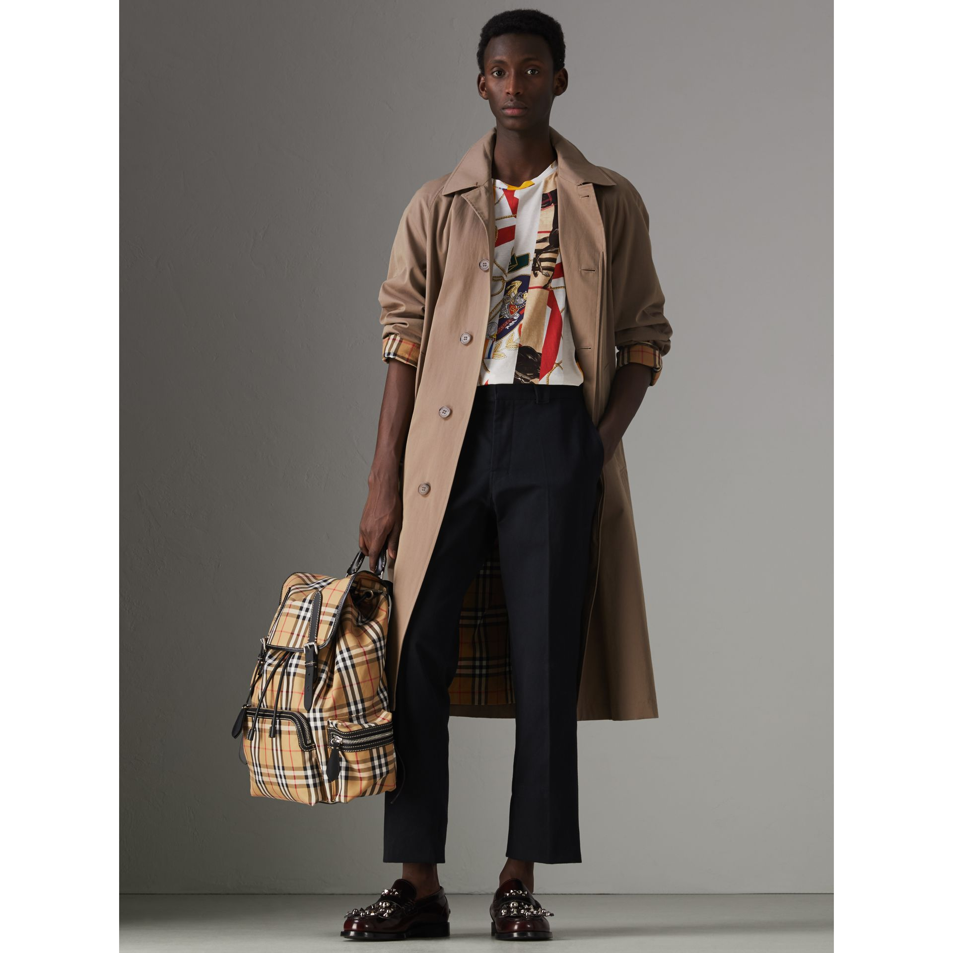 The Large Rucksack in Vintage Check and Leather in Antique Yellow - Men | Burberry - gallery image 2