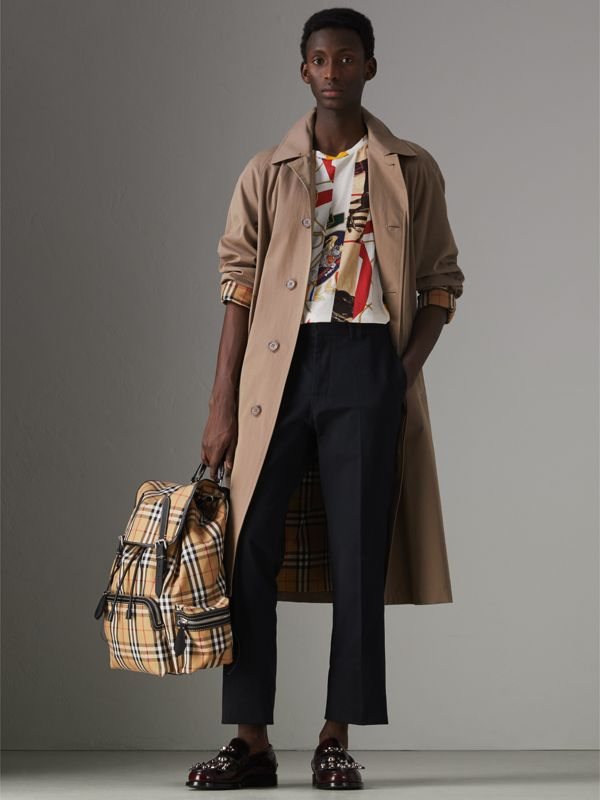 The Large Rucksack in Vintage Check and Leather in Antique Yellow - Men | Burberry Australia - cell image 2