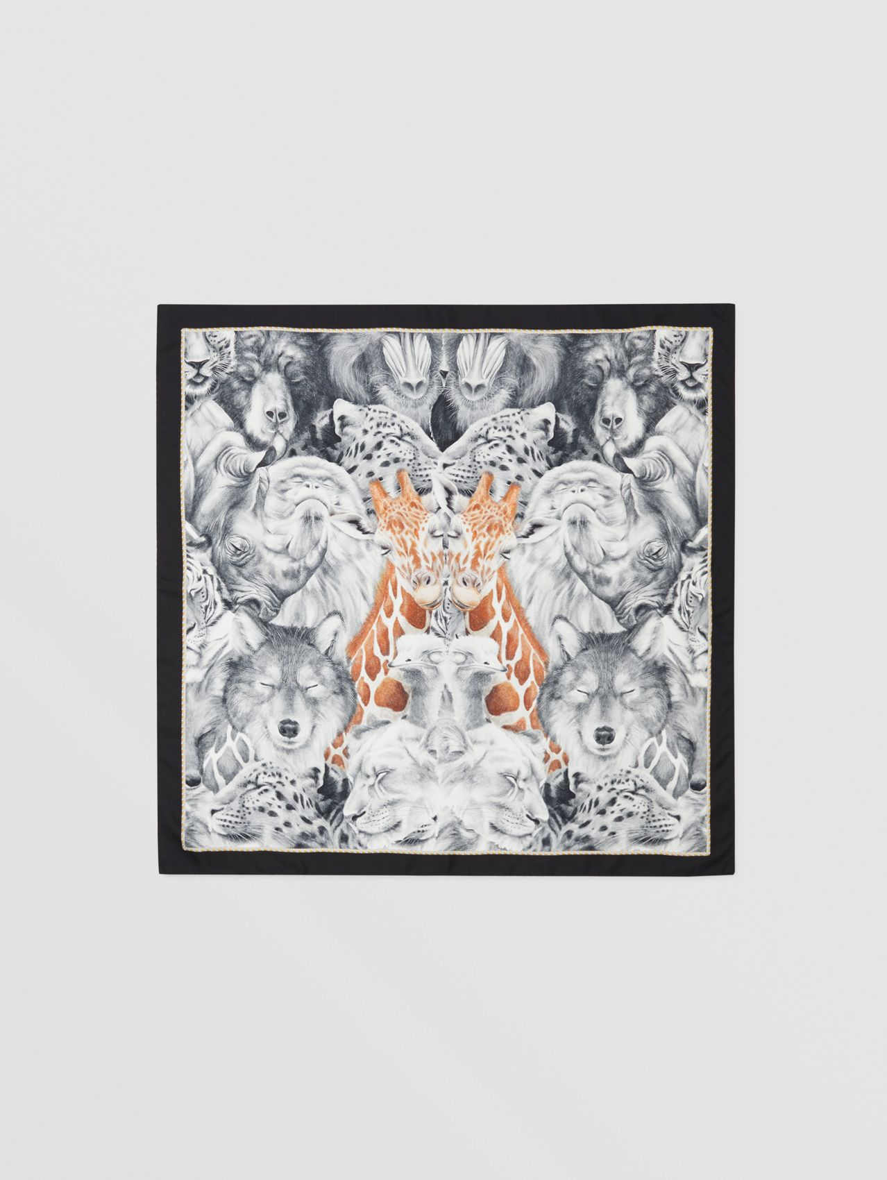 Animalia Print Silk Square Scarf in Copper Brown