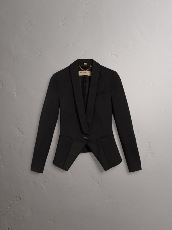 Cinched-waist Wool Tailored Jacket in Black - Women | Burberry - cell image 3