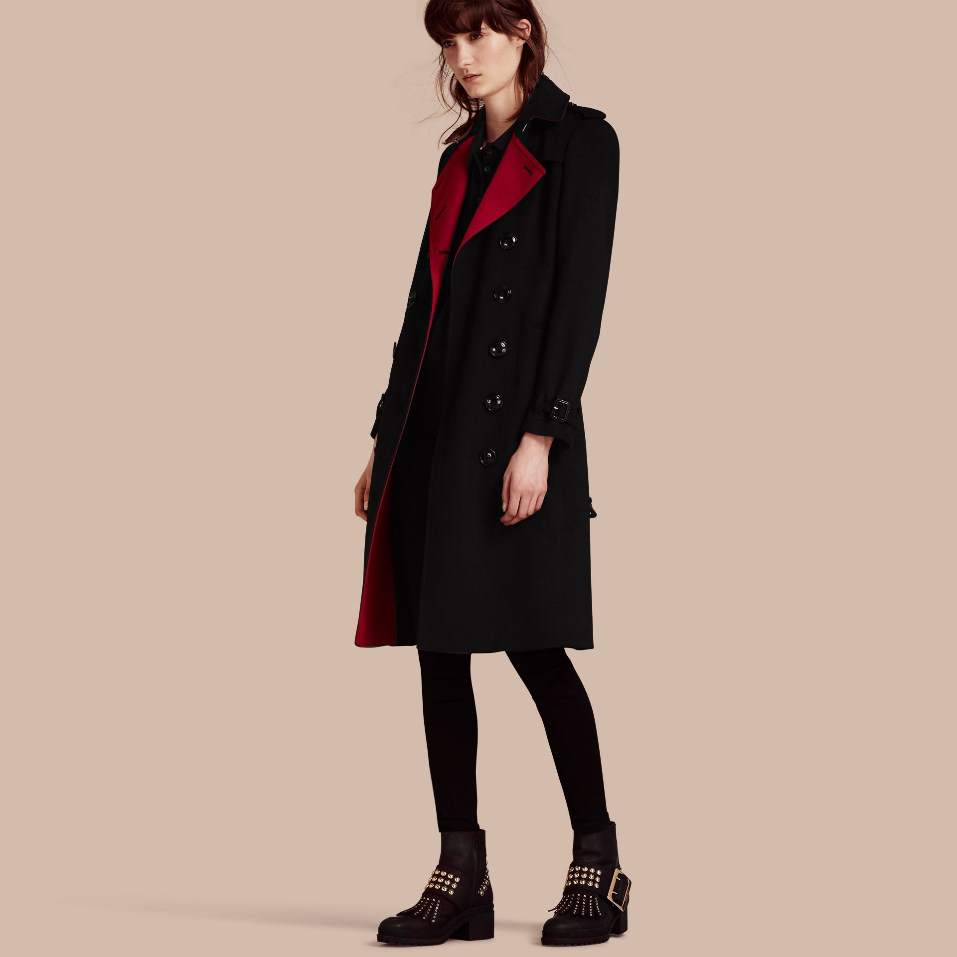 Noir Trench-coat en cachemire de coupe slim - photo de la galerie 2