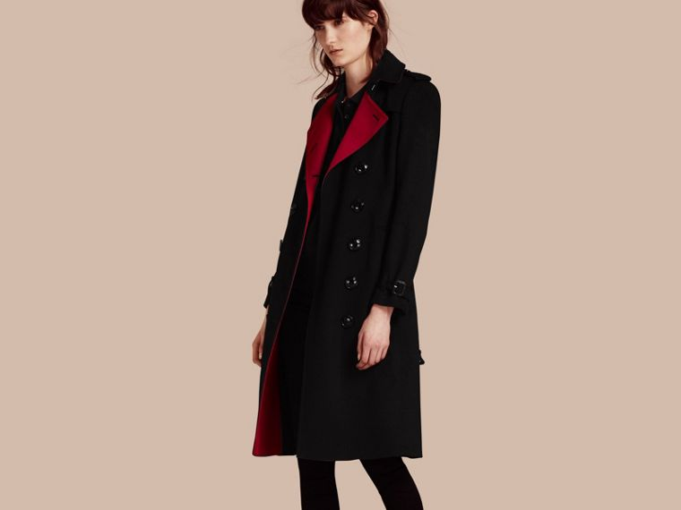 Noir Trench-coat en cachemire de coupe slim - cell image 1