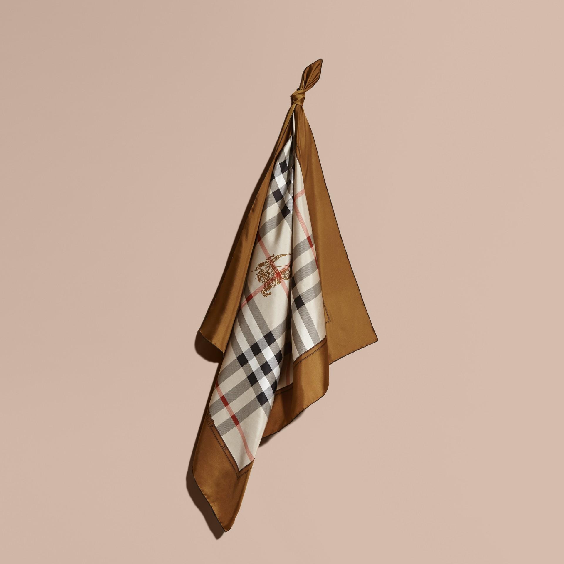 Tan Horseferry Check Silk Square – Medium Tan - gallery image 1