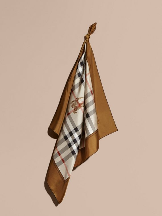 Horseferry Check Silk Square – Medium Tan