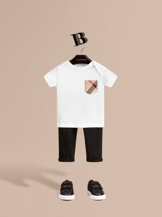 Check Pocket T-Shirt White