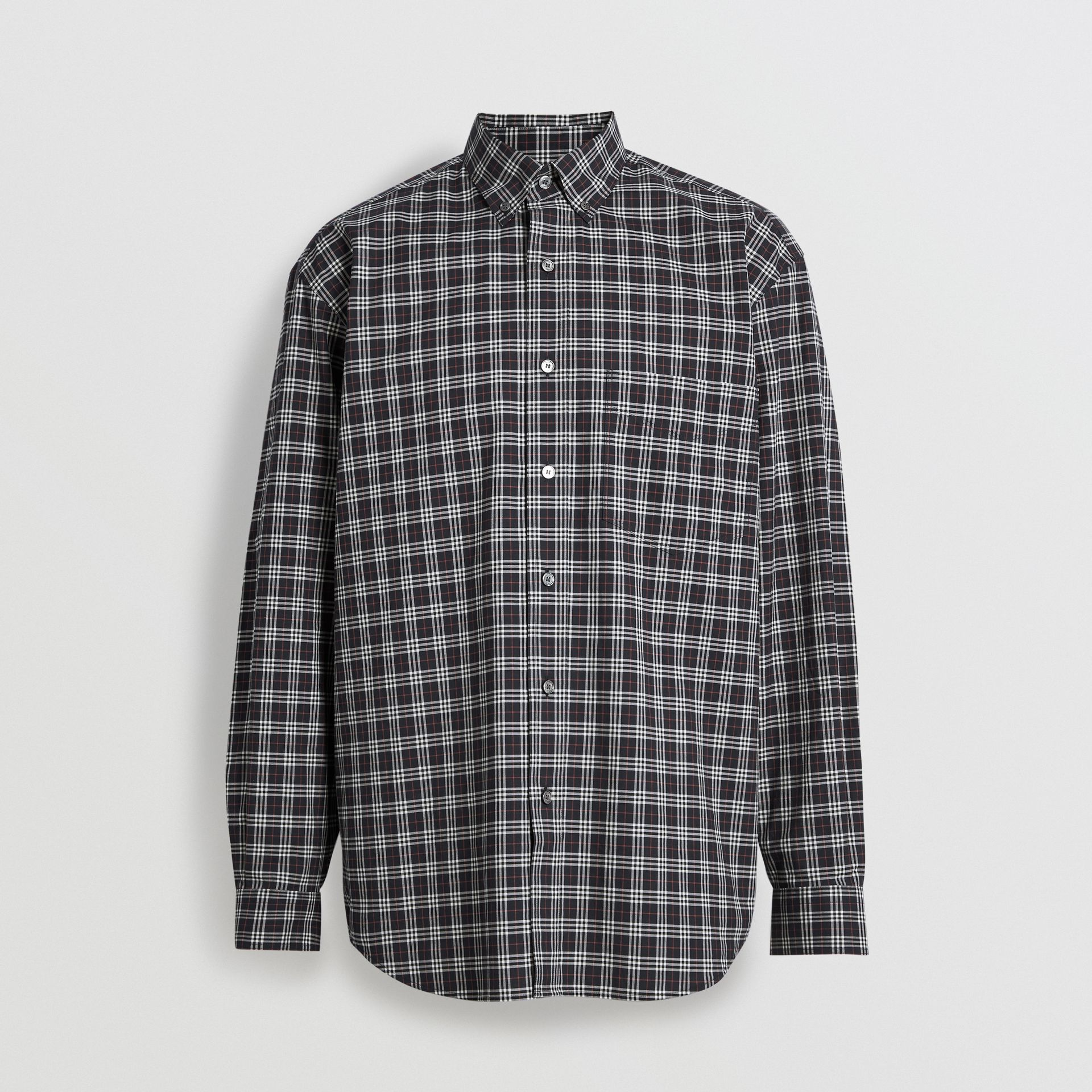 Small Scale Check Cotton Shirt in Navy - Men | Burberry Canada - gallery image 3