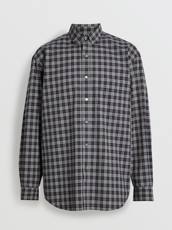 Small Scale Check Cotton Shirt in Navy - Men | Burberry - cell image 3