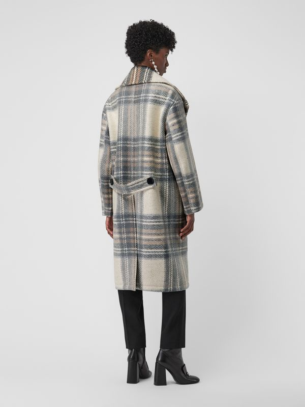 Check Wool Oversized Tailored Coat in Chalk White - Women | Burberry - cell image 2