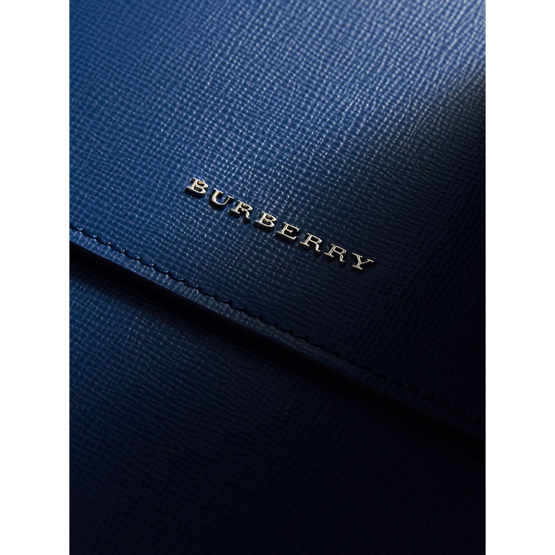Medium London Leather Messenger Bag in Deep Blue - Men | Burberry - gallery image 2