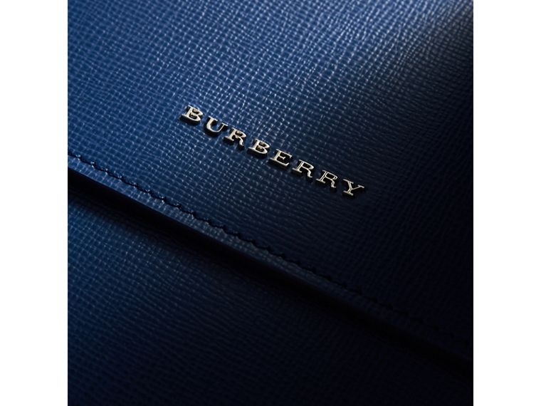 Medium London Leather Messenger Bag in Deep Blue - Men | Burberry Singapore - cell image 1