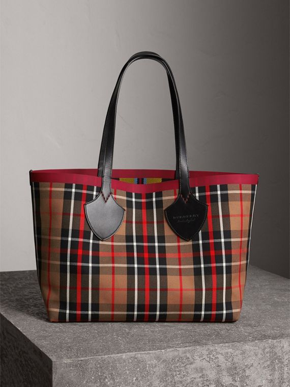 Borsa tote The Giant media double face in cotone con motivo tartan (Caramello/giallo Lino)