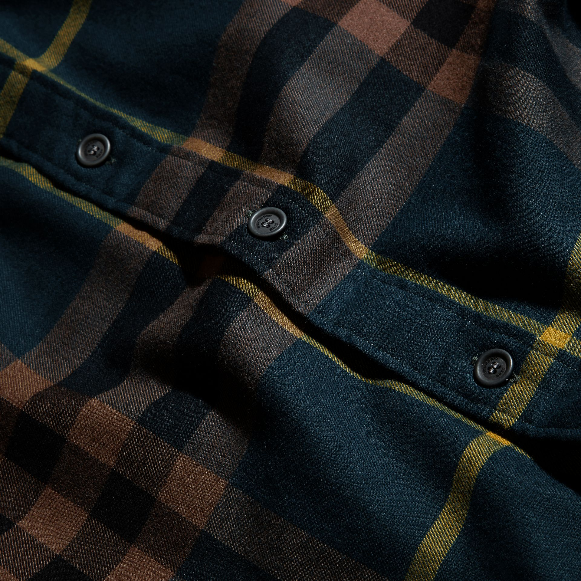 Dark teal green Check Cotton Flannel Shirt Dark Teal Green - gallery image 2