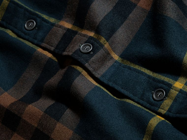 Dark teal green Check Cotton Flannel Shirt Dark Teal Green - cell image 1