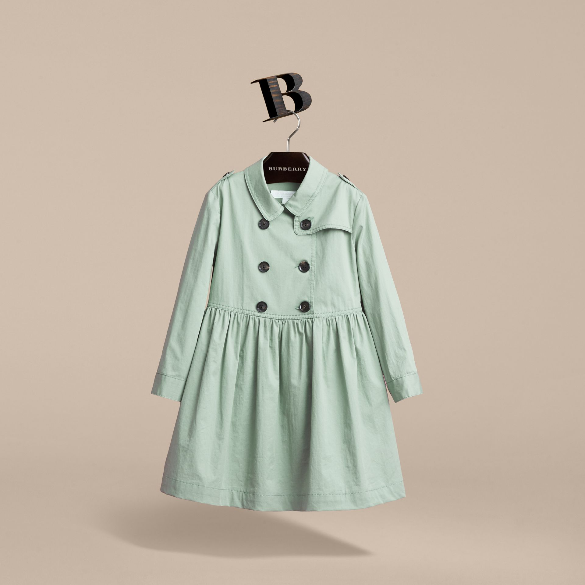 Check Detail Stretch Cotton Trench Dress in Celadon Green - gallery image 4