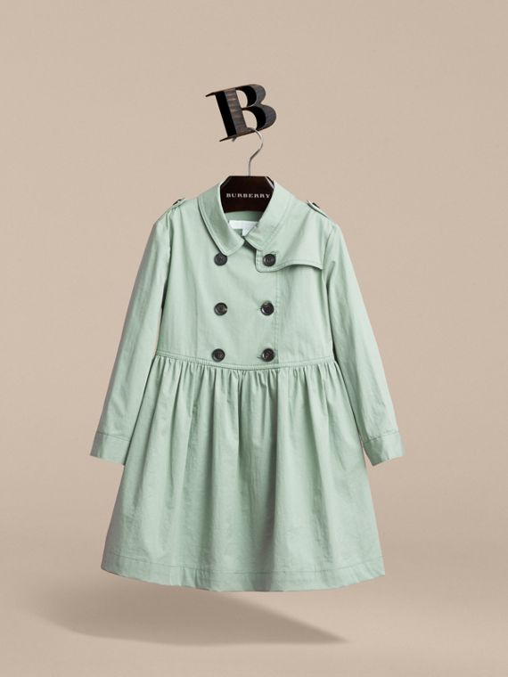 Check Detail Stretch Cotton Trench Dress in Celadon Green - Girl | Burberry - cell image 3