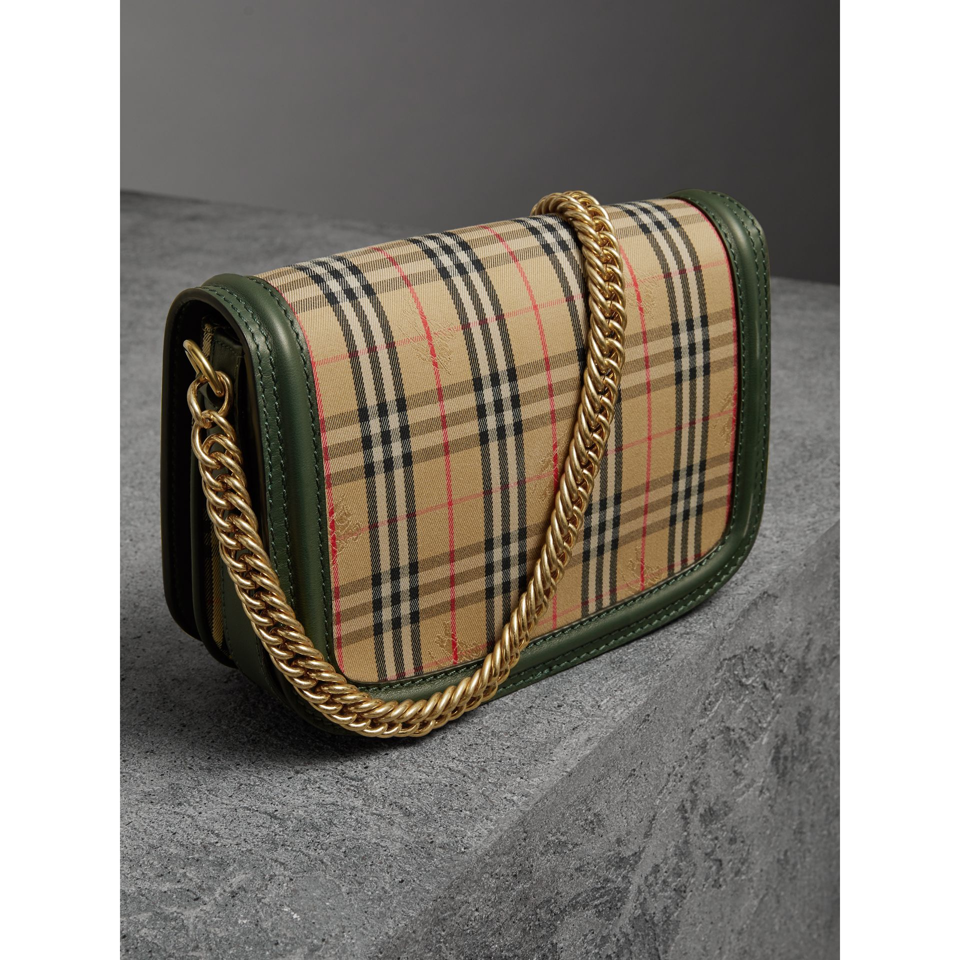 The 1983 Check Link Bag with Grommet Detail in Dark Forest Green - Women | Burberry - gallery image 4