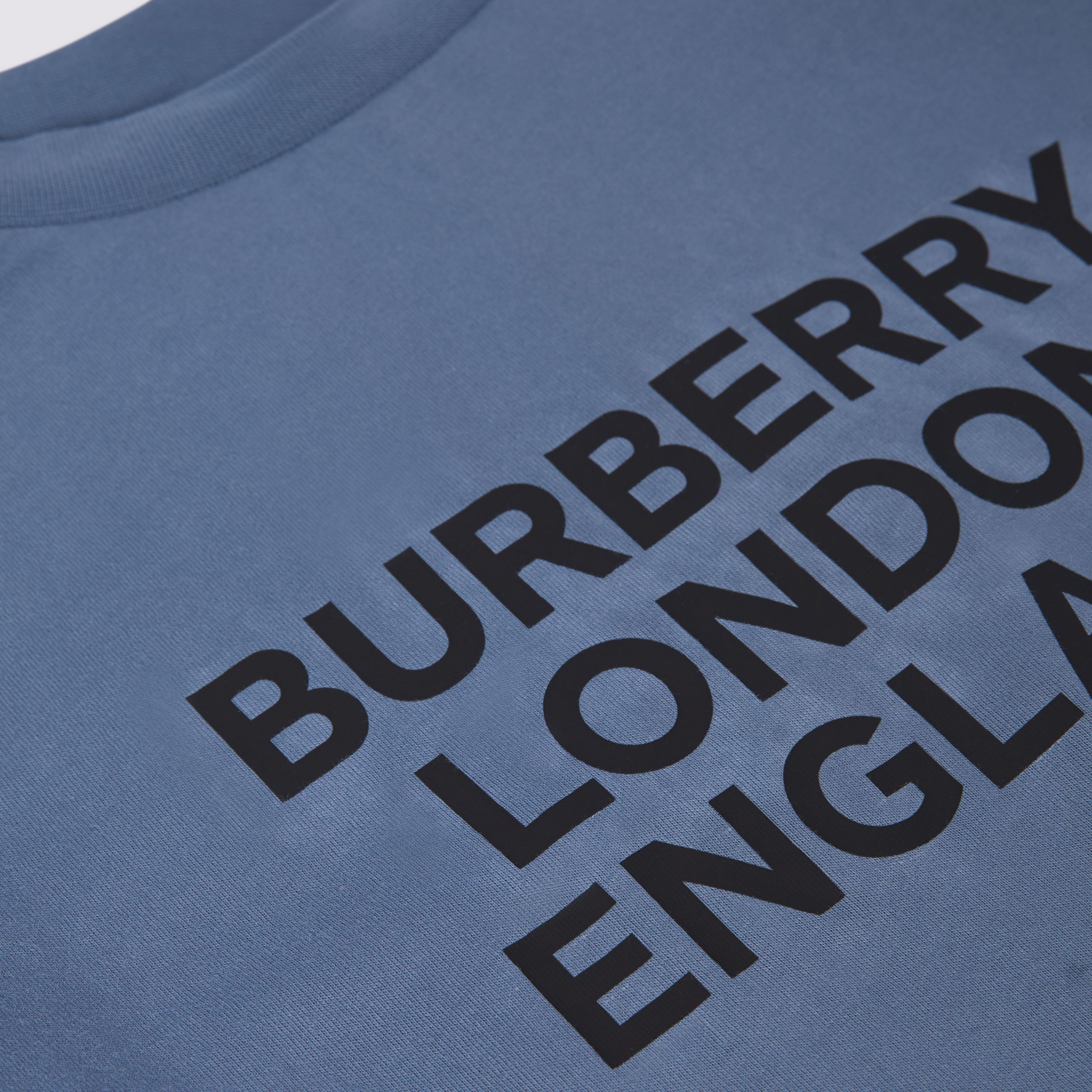 Long-sleeve Logo Print Cotton Top in Steel Blue | Burberry Canada - 2
