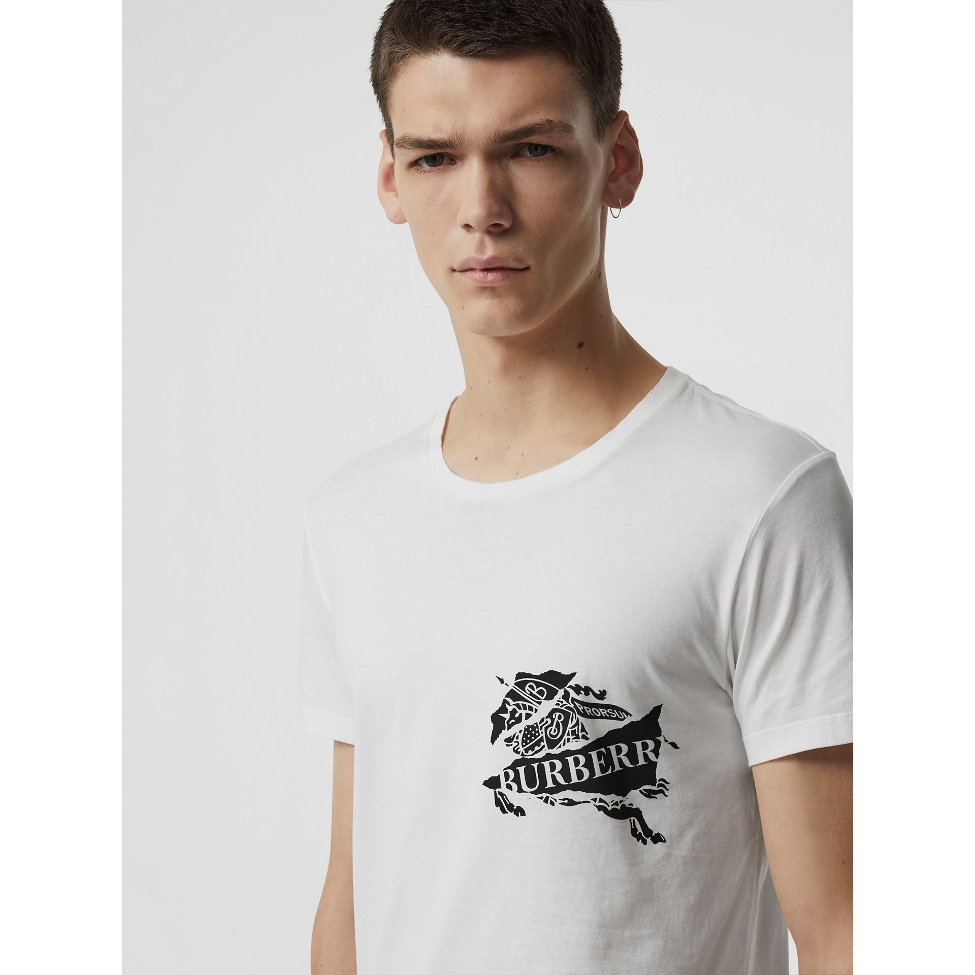 Collage Logo Print Cotton T-shirt in White - Men | Burberry - gallery image 1