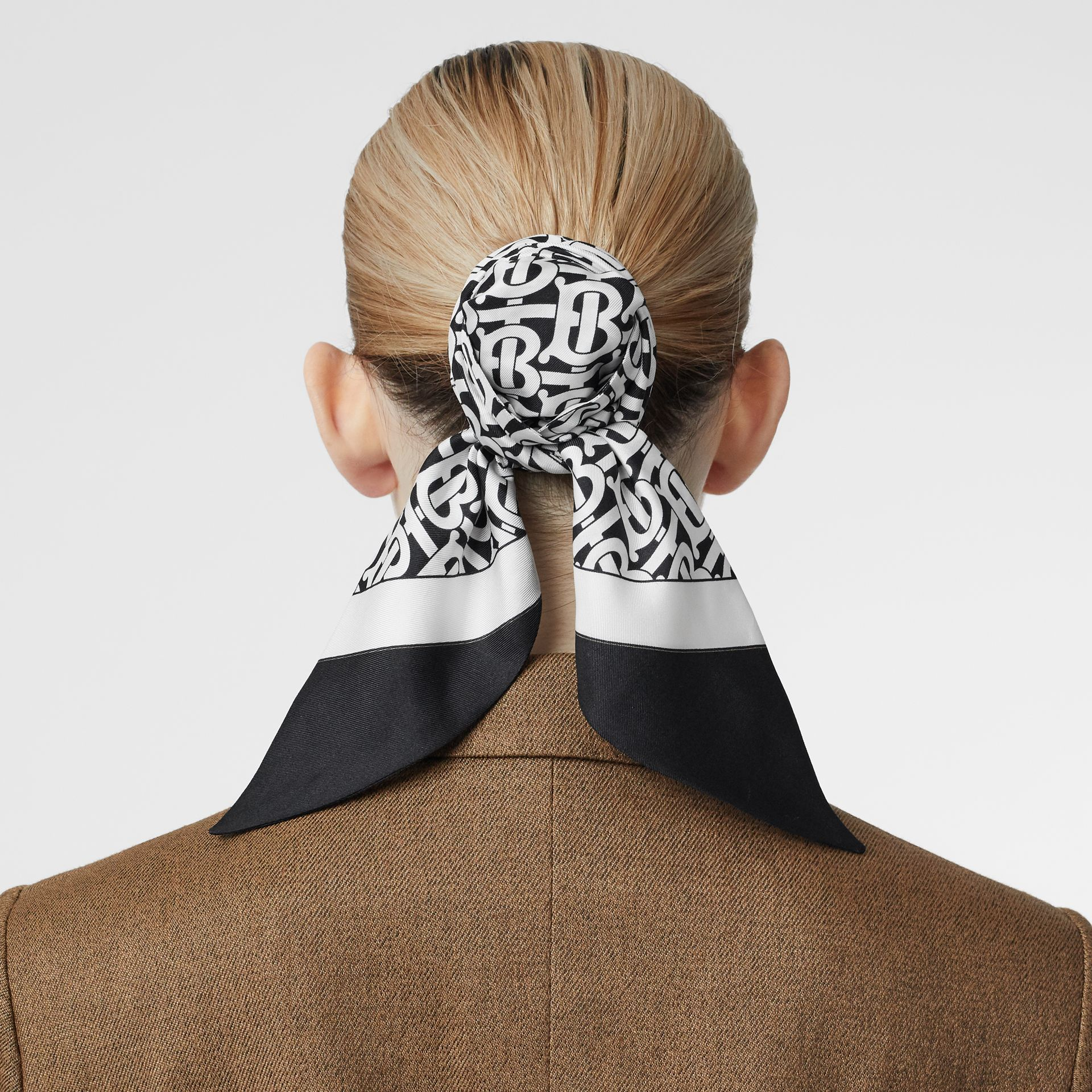 Monogram Print Silk Hair Scarf in Monochrome - Women | Burberry United States - gallery image 2
