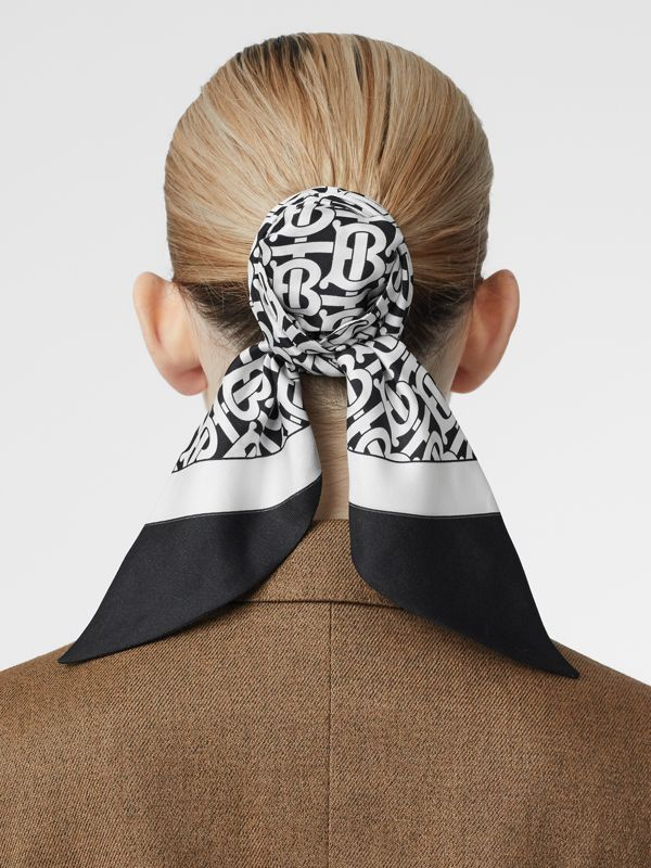 Monogram Print Silk Hair Scarf in Monochrome - Women | Burberry - cell image 2