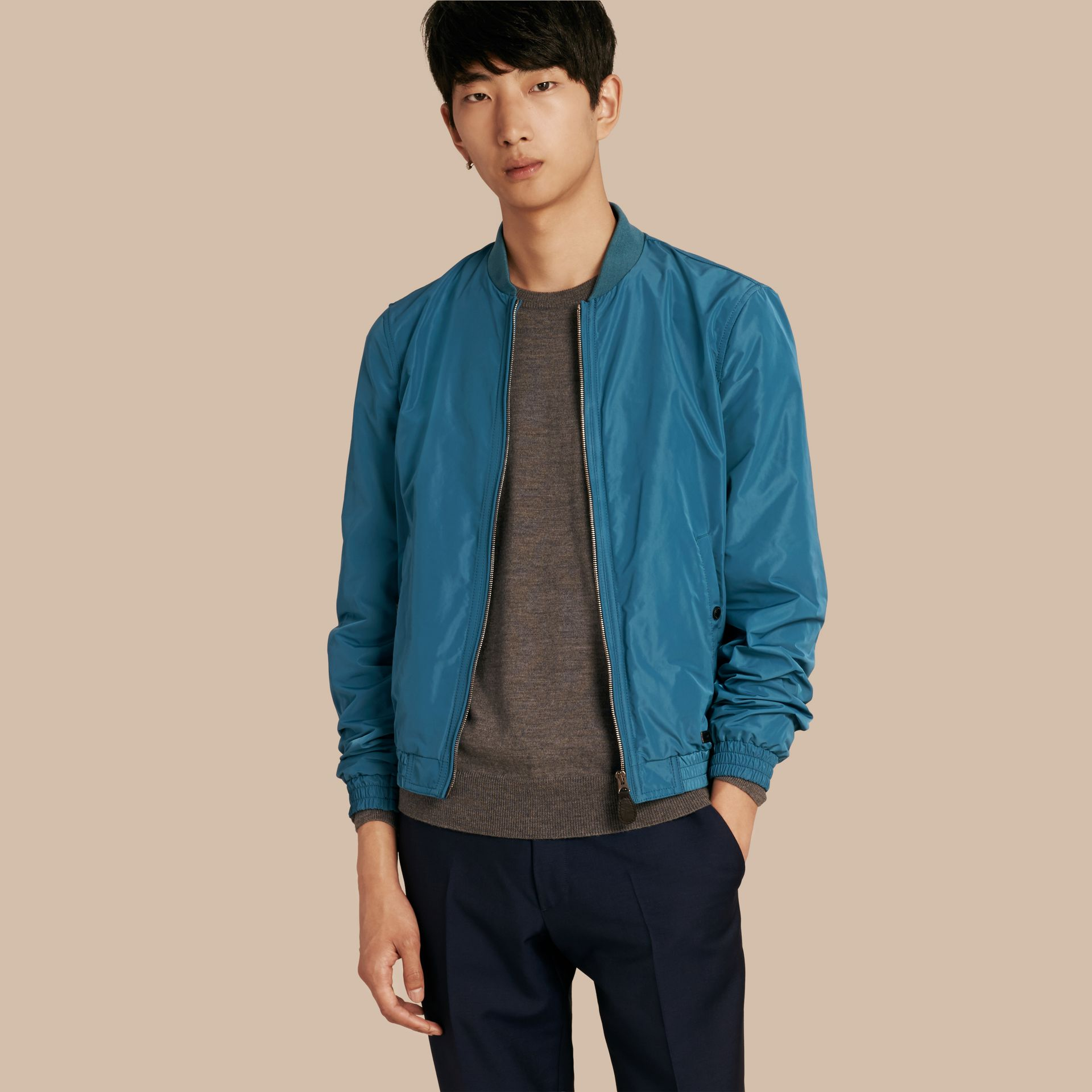 Pale petrol blue Showerproof Bomber Jacket Pale Petrol Blue - gallery image 1