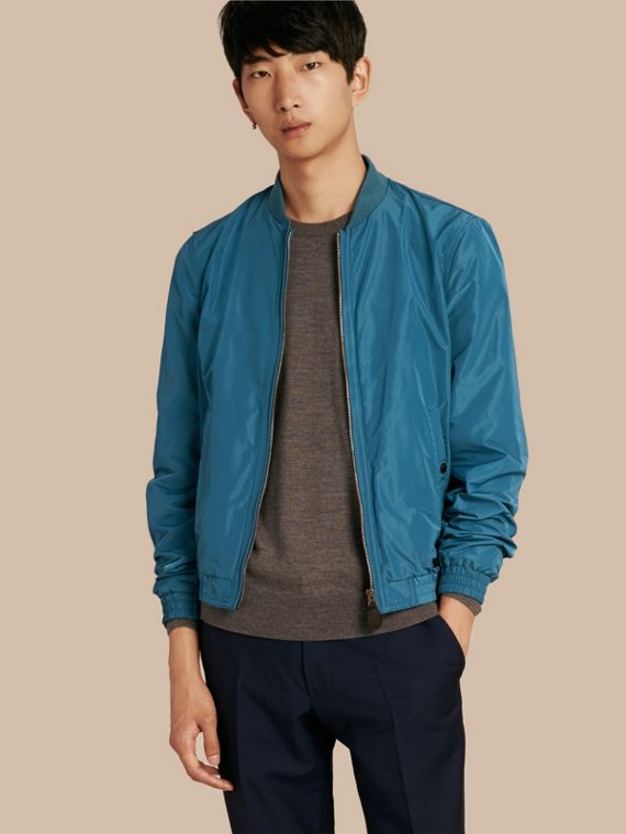 Showerproof Bomber Jacket Pale Petrol Blue