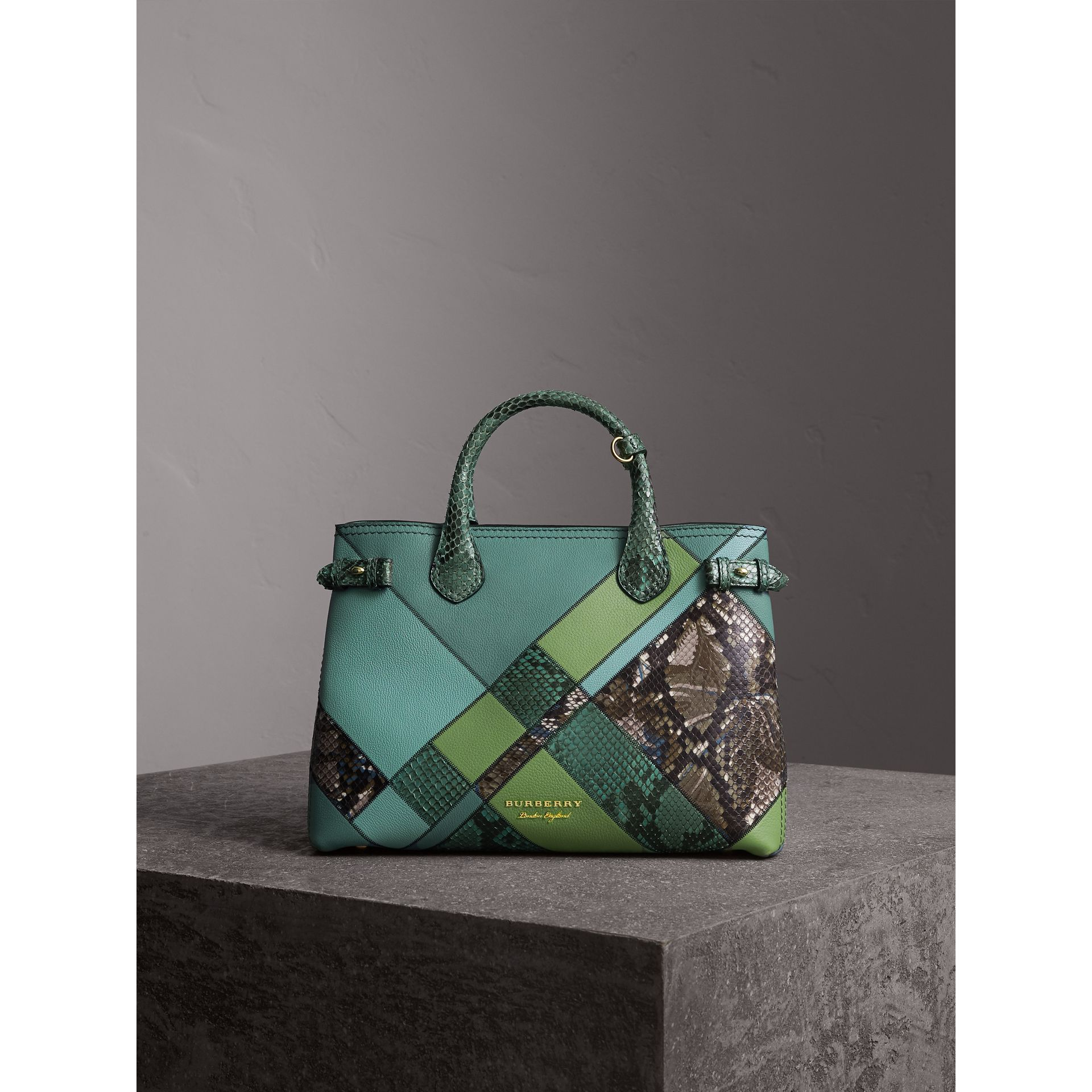 Sac The Banner medium en cuir et python façon patchwork (Bleu Céladon) - Femme | Burberry - photo de la galerie 8