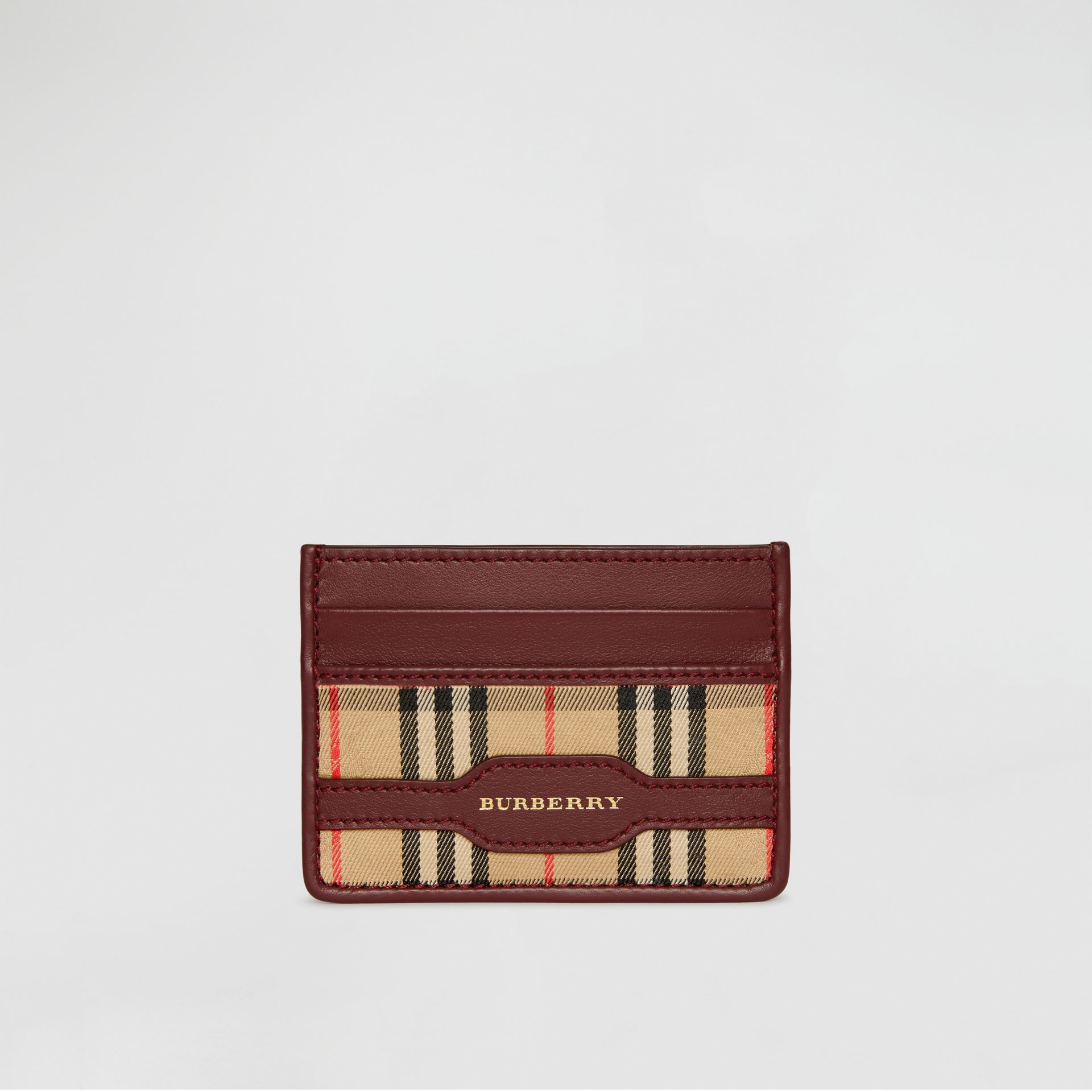 1983 Check and Leather Card Case in Antique Red | Burberry - gallery image 2