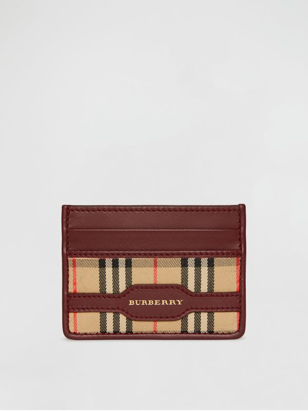 1983 Check and Leather Card Case in Antique Red | Burberry - cell image 2
