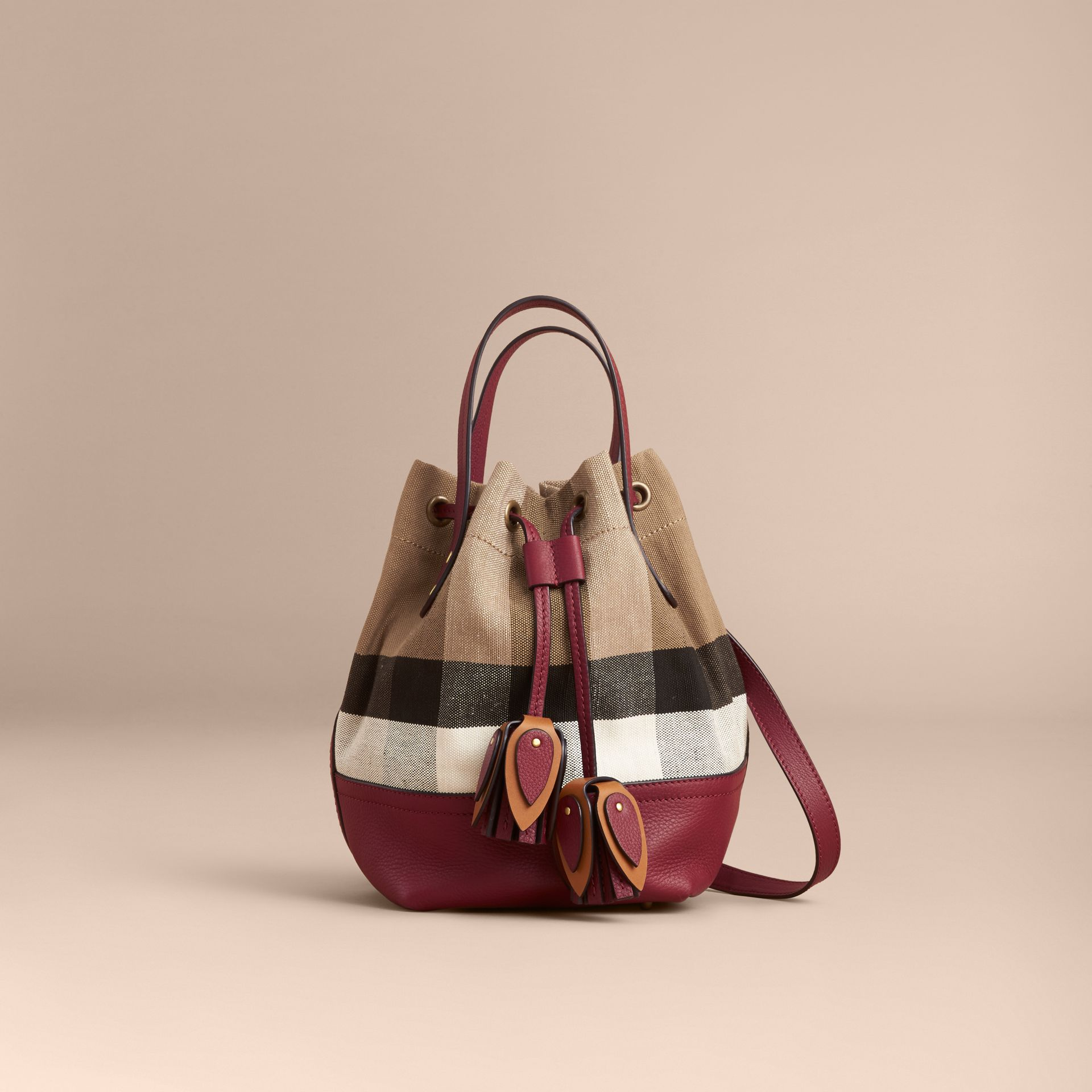 Small Canvas Check and Leather Bucket Bag in Burgundy Red - Women | Burberry Singapore - gallery image 8