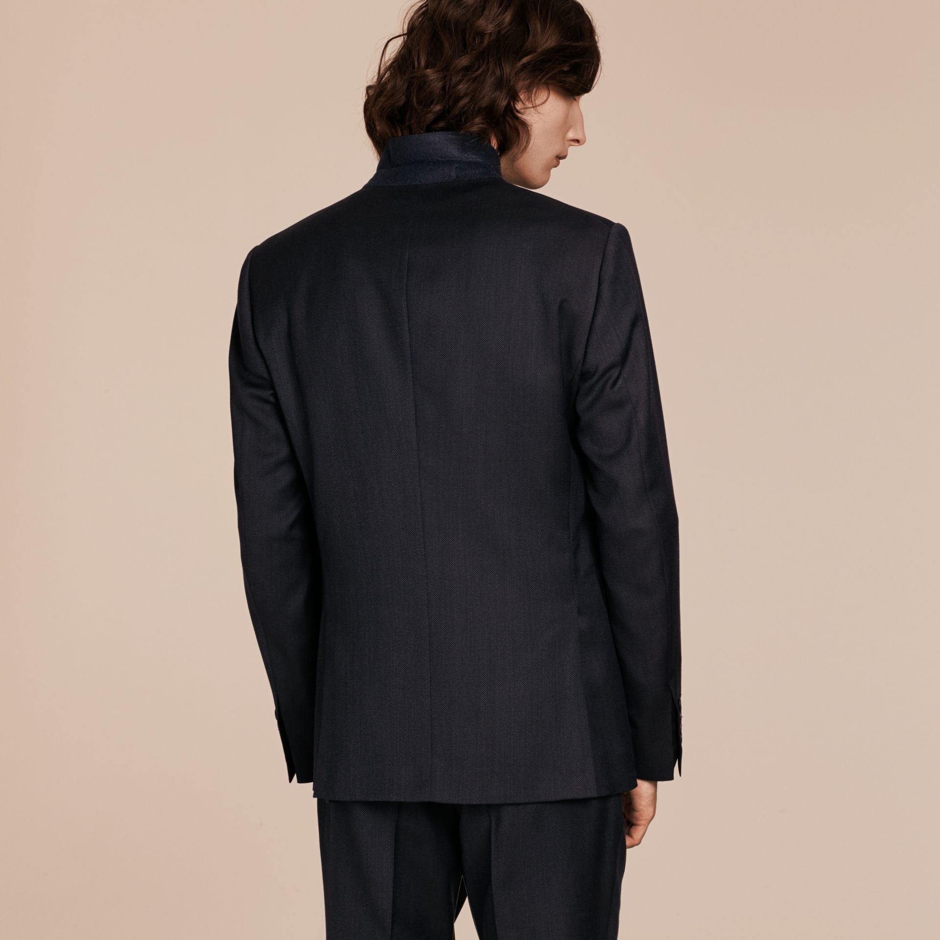 Navy Slim Fit Travel Tailoring Virgin Wool Birdseye Suit - gallery image 3