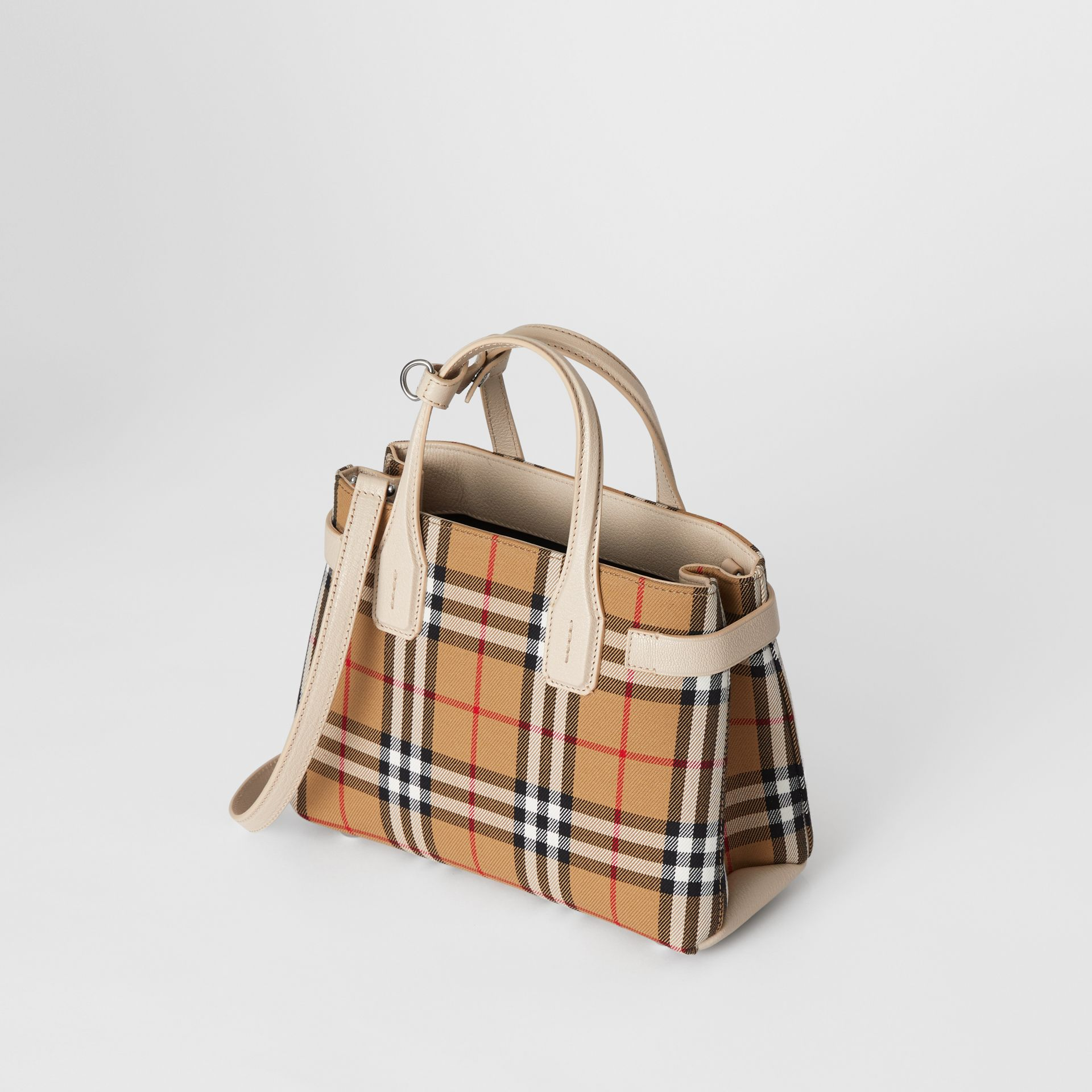 The Small Banner in Vintage Check and Leather in Limestone - Women | Burberry - gallery image 3