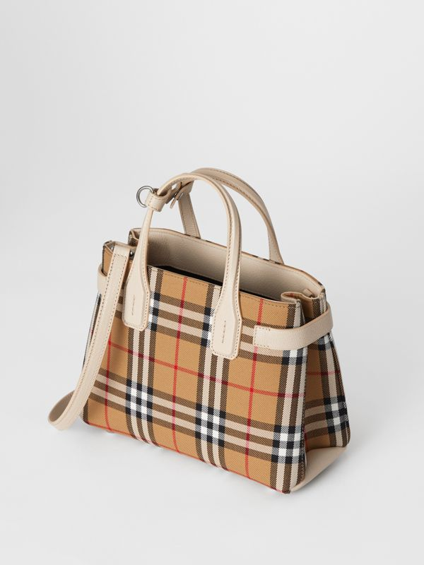 The Small Banner in Vintage Check and Leather in Limestone - Women | Burberry Hong Kong S.A.R - cell image 3
