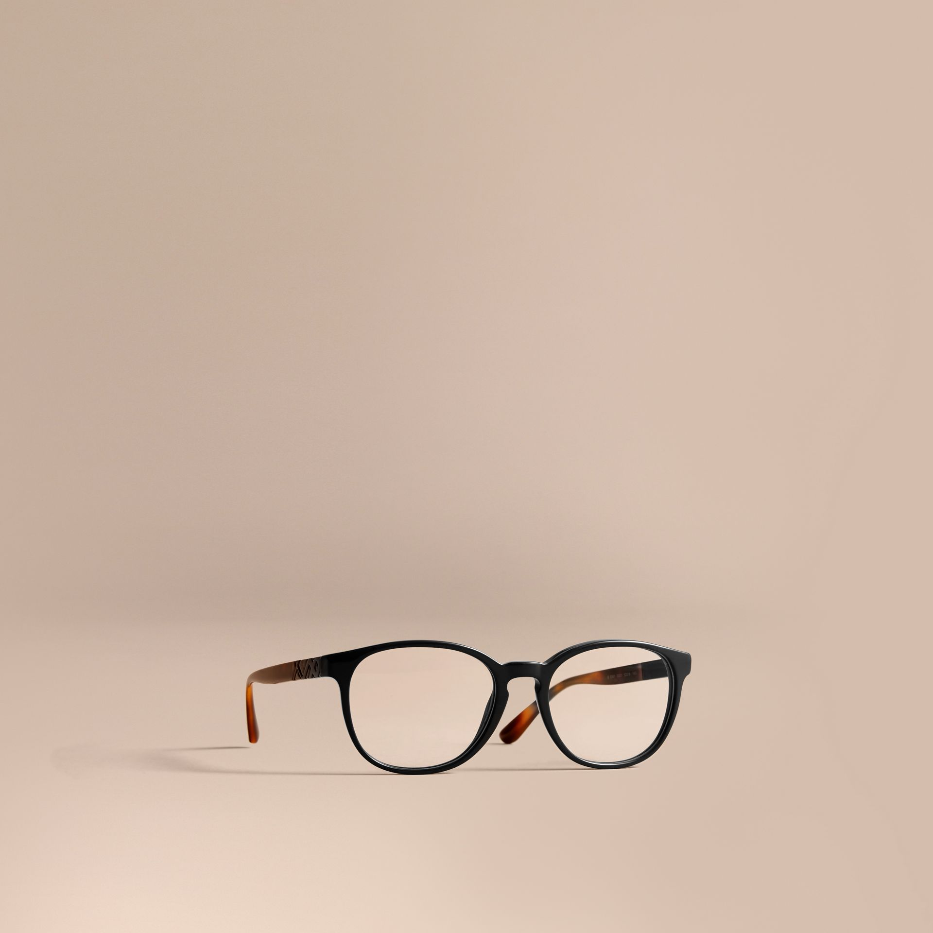 Check Detail Round Optical Frames in Black - gallery image 1